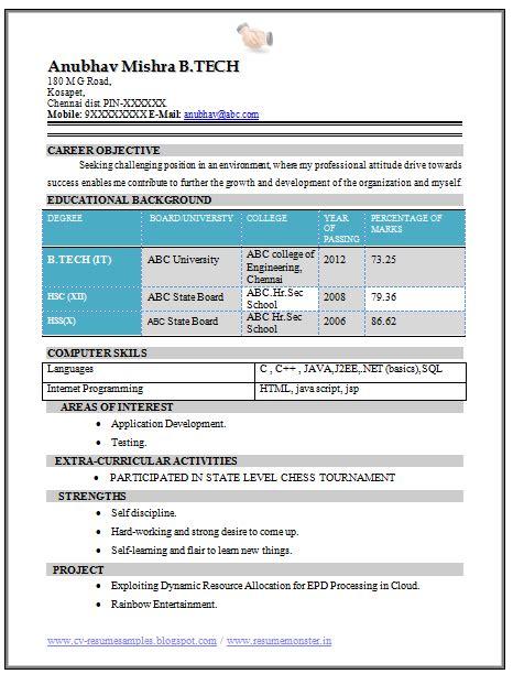 B E Fresher Resume by B Tech Fresher Resume Sle It 1 Career Resume