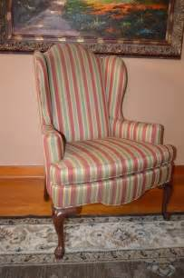 045 ethan allen queen anne wingback chair striped