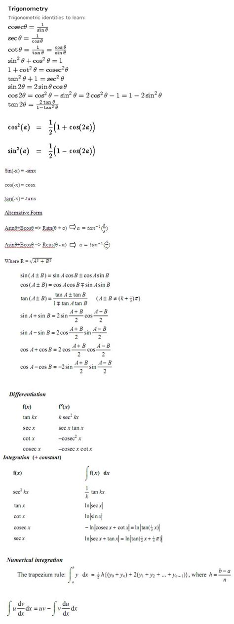 handy formulae sheet for c3 c4 revision d the student room