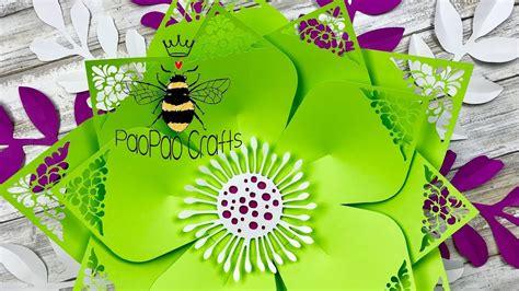 Pétalos calados Flor gigante de papel Moldes GRATIS