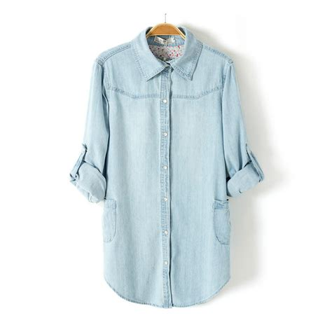 light blue denim shirt light blue denim shirt lapel long sleeved blouse on luulla