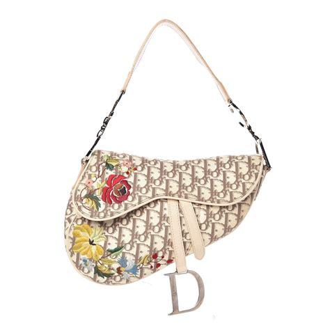 christian dior monogram vintage flowers saddle bag beige