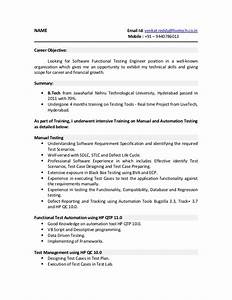 Career Objective For Manual Testing Resume