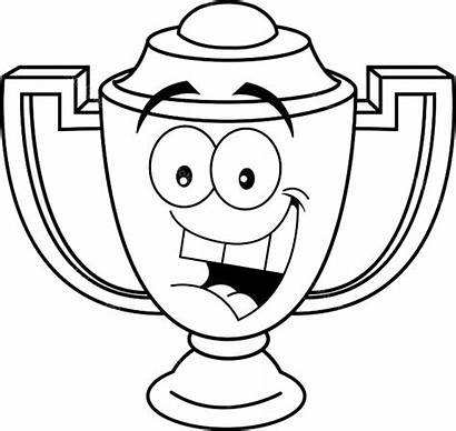 Trophy Coloring Cartoon Smiling Pages Children