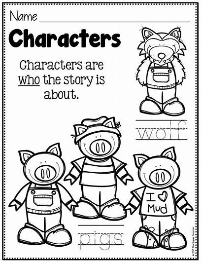 Story Elements Characters Pigs Three Worksheet Worksheets