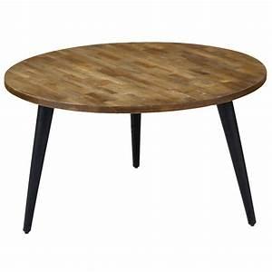 Table Basse Metal Ronde : table basse ronde teck pi tement m tal 80 cm style industriel woody zago store ~ Teatrodelosmanantiales.com Idées de Décoration