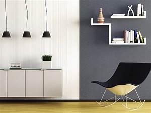 Peinture Blanc Gris : peinture salon gris anthracite et blanc effet paillette ~ Nature-et-papiers.com Idées de Décoration
