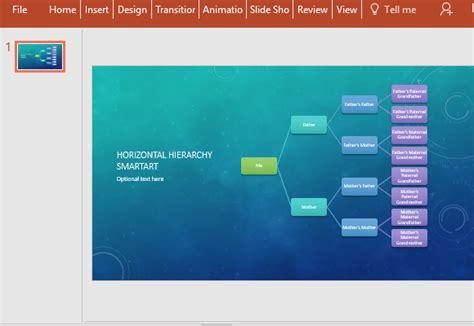 horizontal family tree chart template  powerpoint