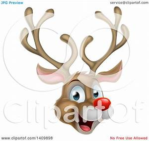 Clipart of a Happy Rudolph Red Nosed Reindeer Face ...