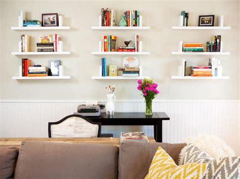 living room   white floating shelves hgtv
