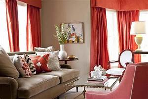 beige and coral red living room with red curtains and With red and cream curtains for living room
