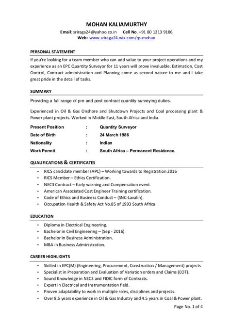 Quantity Surveyor Resume by Quantity Surveyor Cv