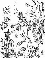 Scuba Diver Coloring Pages Printable Museprintables Colouring Template Cartoon Diving Dive Getcolorings Paper Colored Getdrawings sketch template