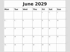 June 2029 Blank Calendar