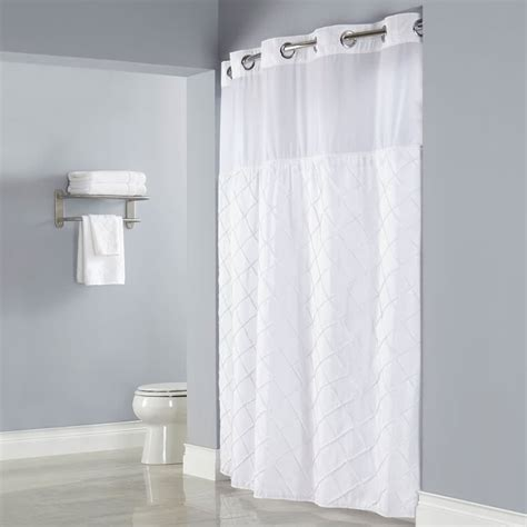 hookless white pintuck shower curtain with chrome raised