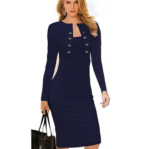 Autumn Winter Women Business Casual Sliming Pencil Dresses