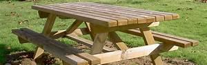 Table Banc Exterieur : mobilier urbain table bancs en bois rustique rondino ~ Teatrodelosmanantiales.com Idées de Décoration