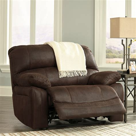wide seat recliner zavier wide seat faux leather recliner in truffle