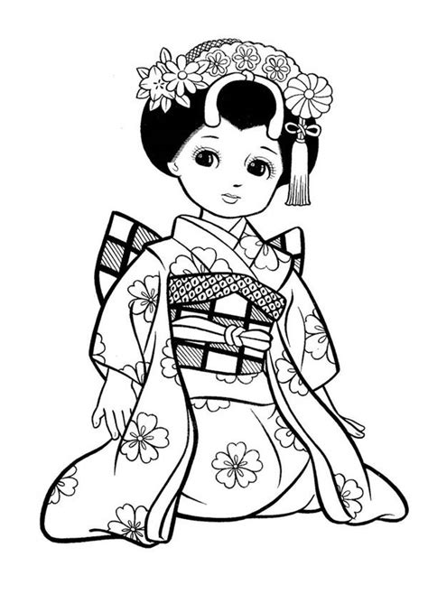 japanese girl geisha coloring page netart