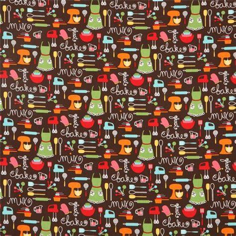 tissus cuisine tissu robert kaufman marron tabliers ustensiles de