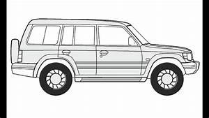 How To Draw A Mitsubishi Pajero 5     U041a U0430 U043a  U043d U0430 U0440 U0438 U0441 U043e U0432 U0430 U0442 U044c Mitsubishi Pajero 5