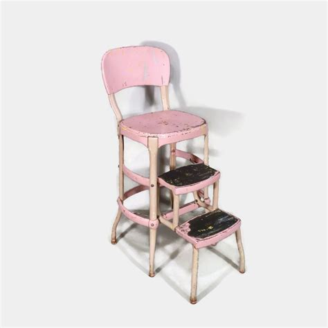 Cosco Step Stool Chair Black by Pink Cosco Step Stool Chair Mid Century
