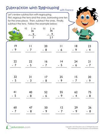 3rd grade math worksheet subtraction with borrowing review subtraction with regrouping projects to try
