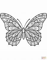 Butterfly Coloring Pages Zentangle Moth Butterflies Printable Patterns Sheets Drawing Mandala Printables Colouring Adults Adult Supercoloring Animals Templates Pattern Insect sketch template