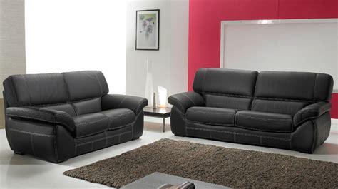canapé 3 2 places salon cuir 5 places noir pas cher canapé 3 2