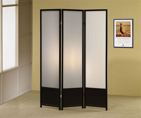 Black Finish Panel Folding Screen Room Divider
