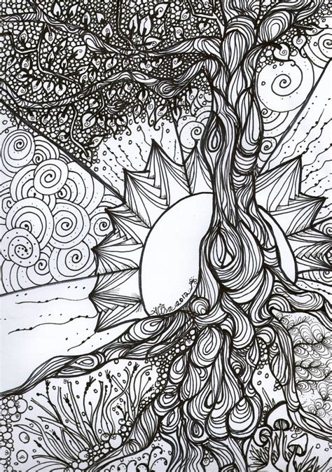 tree  life   ink adult colouring book series  colouring pinterest coloring
