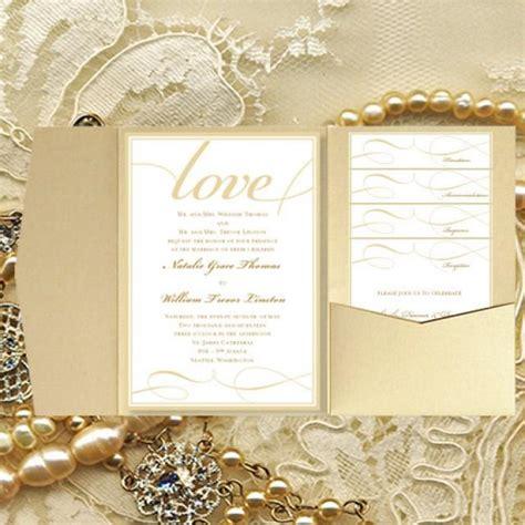 diy pocket wedding invitations quot it s love quot chagne gold