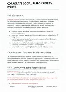Templates corporate social responsibility policy for Corporate social responsibility policy template