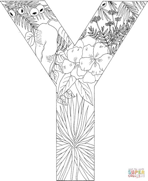 Kleurplaat Y letter y with plants coloring page free printable