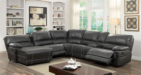 furniture  america gy gray reclining chaise console sectional sofa furniture  america