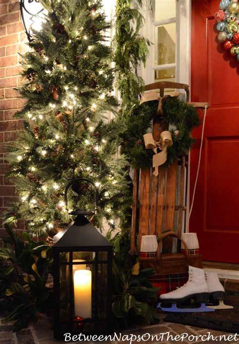 decorating porch column for xmas porch decorating ideas