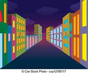 Vector Clip Art of Night city street with neon lightened