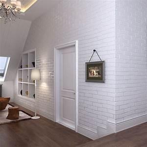 Mur Effet Brique : vintage en relief papier peint brique mur rouleau moderne gris blanc 3d effet brique papier ~ Melissatoandfro.com Idées de Décoration