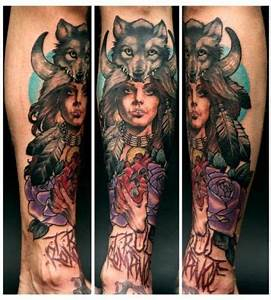 Girl and wolf tattoo - Design of TattoosDesign of Tattoos