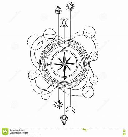 Tattoo Compass Geometric Background Pattern Coloring Abstract