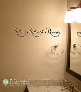 relax refresh renew bathroom bathroom decor home decor With bathroom vinyl lettering wall art