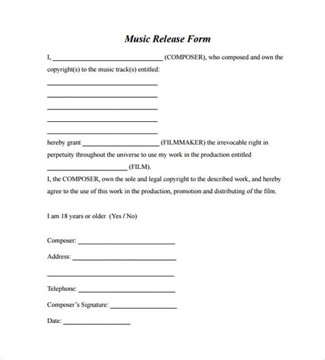 music copyright release form template 11 music release forms to download sle templates