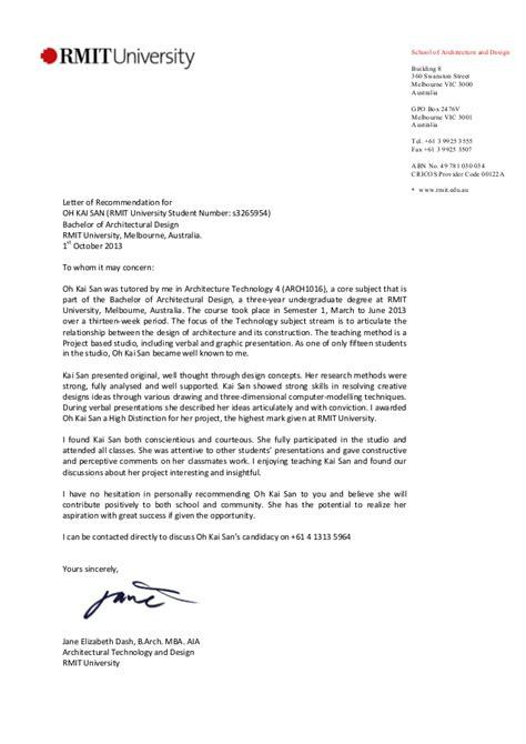 rmit recommendation letter jane