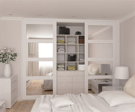 Small Mirrored Wardrobe by White Closets Sliding Panel Doors Interior Sliding