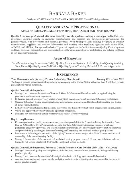 resume format for quality assurance resume exles 2017