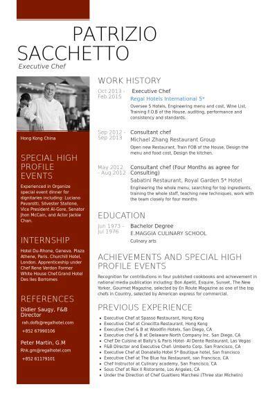 executive chef resume  chef resume sample resume