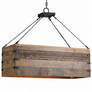 Natural rustic lodge rectangular wood cart light island