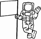 Astronaut Coloring Flag Clipart Drawing Cartoon Printable Line Wecoloringpage Spaceship Alien Clipartmag Getdrawings sketch template