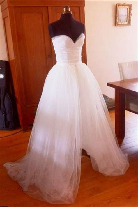 simple white tulle long cheap  size wedding dresses