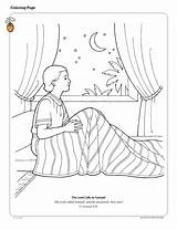 Samuel Coloring Pages Bible God Night Sky Lds Calls Lord Children Testament Obey Child Listen Am Clipart Bed Church Printable sketch template